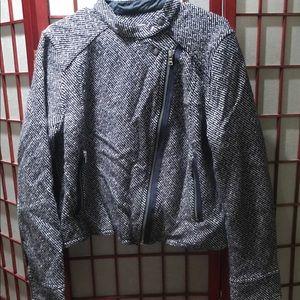 GUC herringbone asymmetrical zip-front jacket